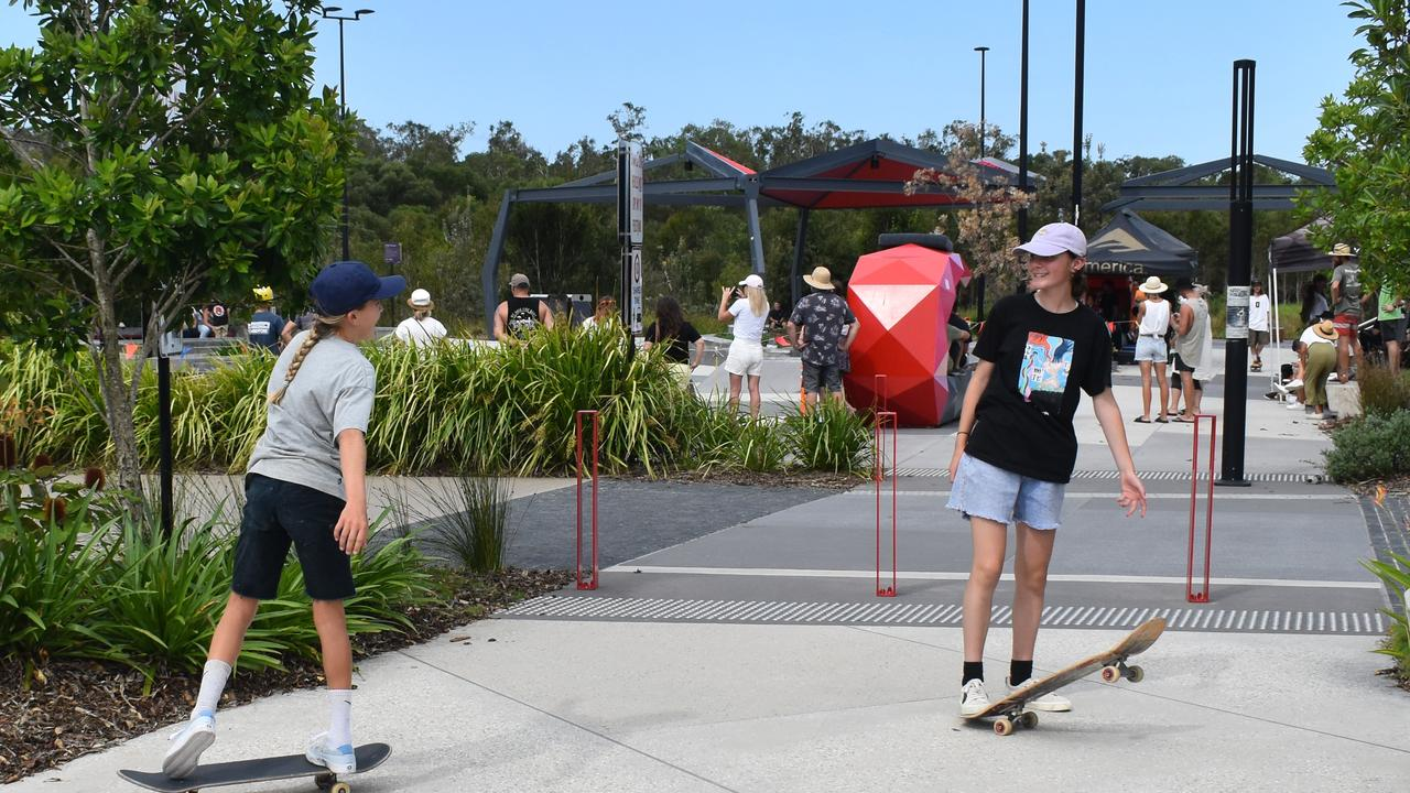 Chloe Covell, 10, and Estelle Seymour, 14, travelled from NSW and Victoria to take part in the Skate-A-Thon on Saturday.