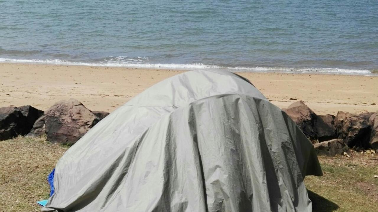 'Her face said it all': Campers chased tent with a teenage girl inside after it was blown down the beach during the storm. Picture: File
