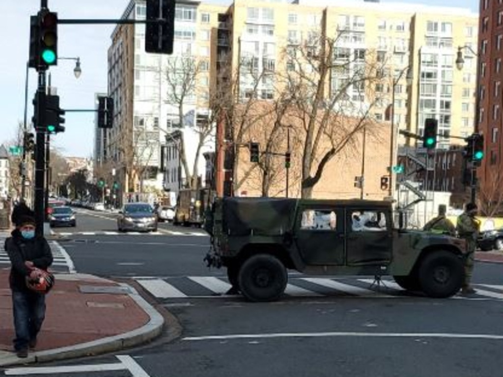 Troops block a road in Washington DC ahead of Joe Biden's inauguration on January 20. Picture: Nathan Vass, News Corp