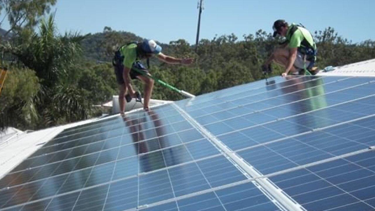 Roof solar panels.