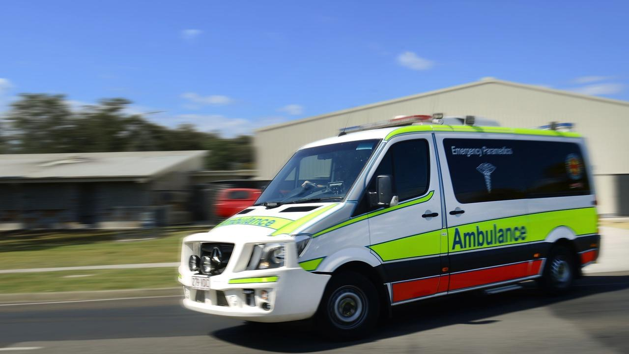 One person has been taken to hospital after a collision between a truck and a car.