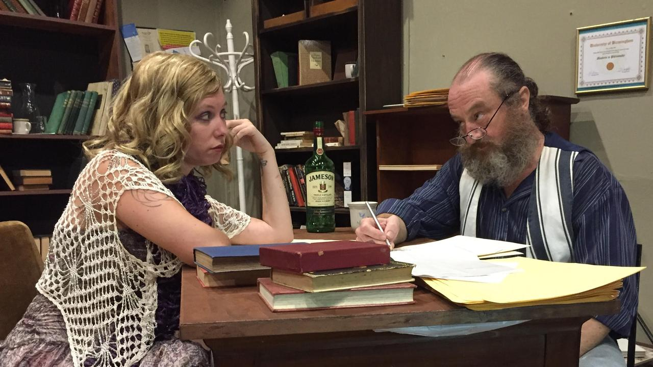 Elyse Dallinger and Gray Wilson in a scene from Lismore Theatre Company's upcoming production of Educating Rita.
