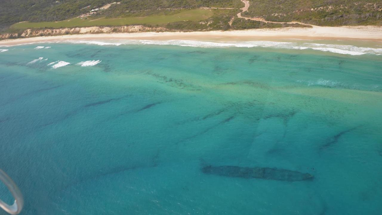 The SS Marloo is now visible off the coast of Fraser Island for the first time in almost 30 years.