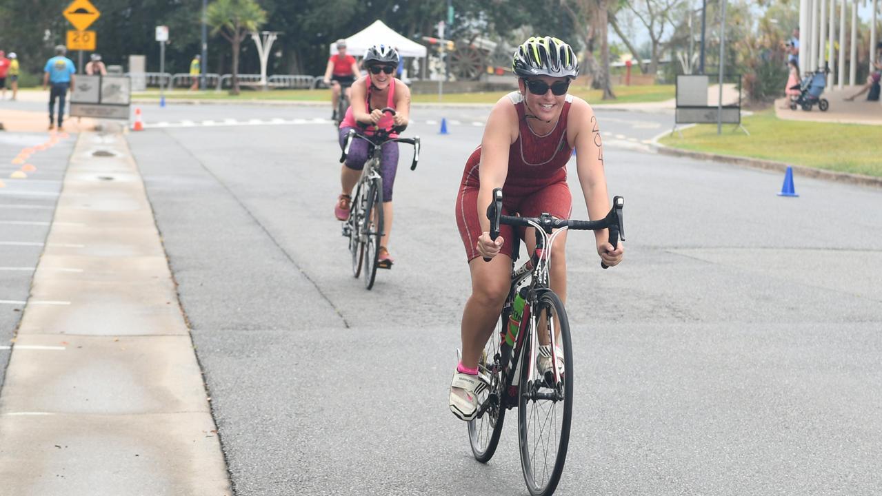 Tennile Danvers in the bike leg during last year's Rockhampton Triathlon. Photo: Jann Houley