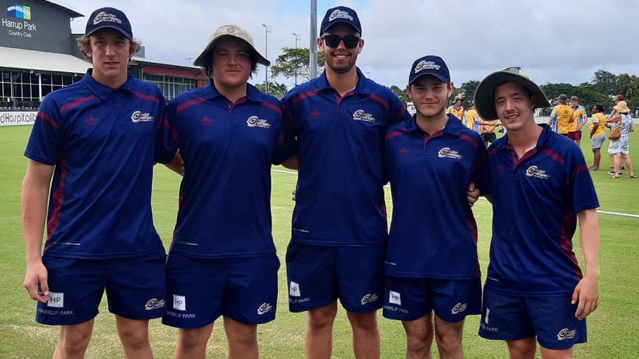 Mackay Whitsundays players Luke Pietzner, Ben Zurvas, Isaac Borg, Jaxn Sign and Andrew Borg were named in the NQ U18 side. Photo: Magpies Cricket Club
