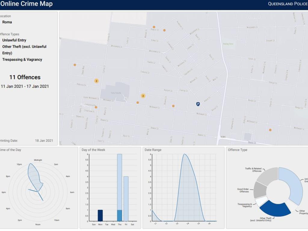 Queensland Police Service online crime map.