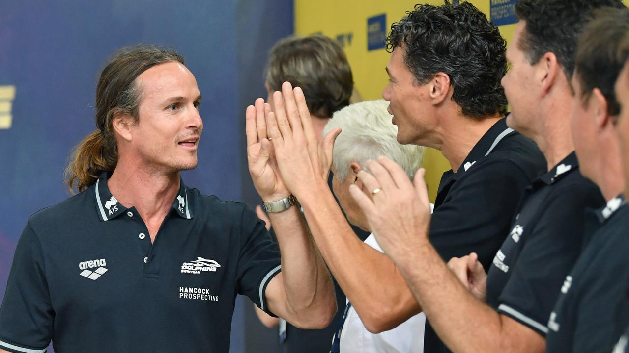 St Peters Western Swimming Club coach Dean Boxall (left). Photo: Darren England / AAP