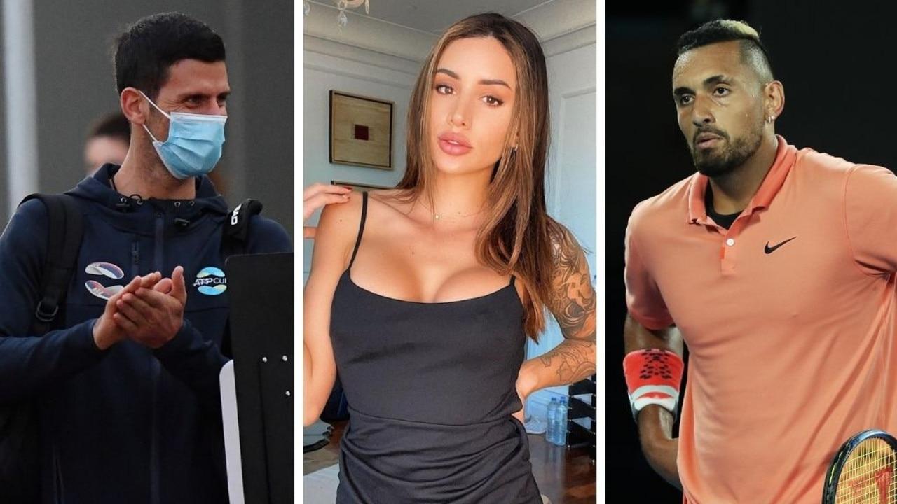Novak Djokovic and Bernard Tomic's girlfriend Vanessa Sierra have earned the wrath of Nick Kyrgios. Pictures: Getty/Instagram
