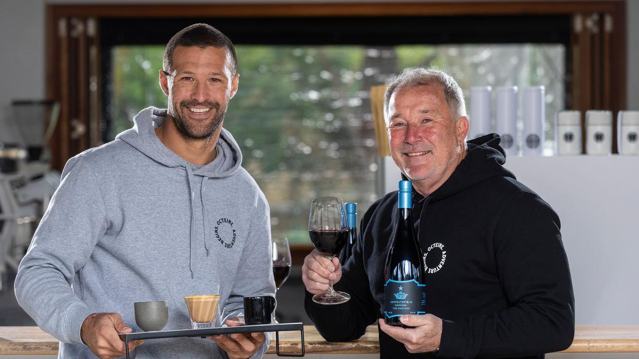 Pete Mann with Seppeltsfield owner Warren Randall.