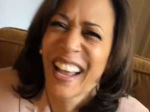 Kamala Harris laughs at cheeky Trump jab