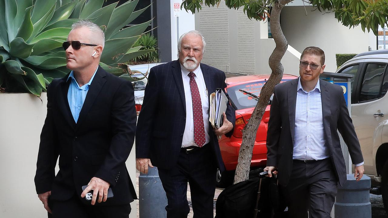 Jayden Moorea, formerly knowns as Dan Shearin, at Southport Courthouse with his defence team. Photo Scott Powick.