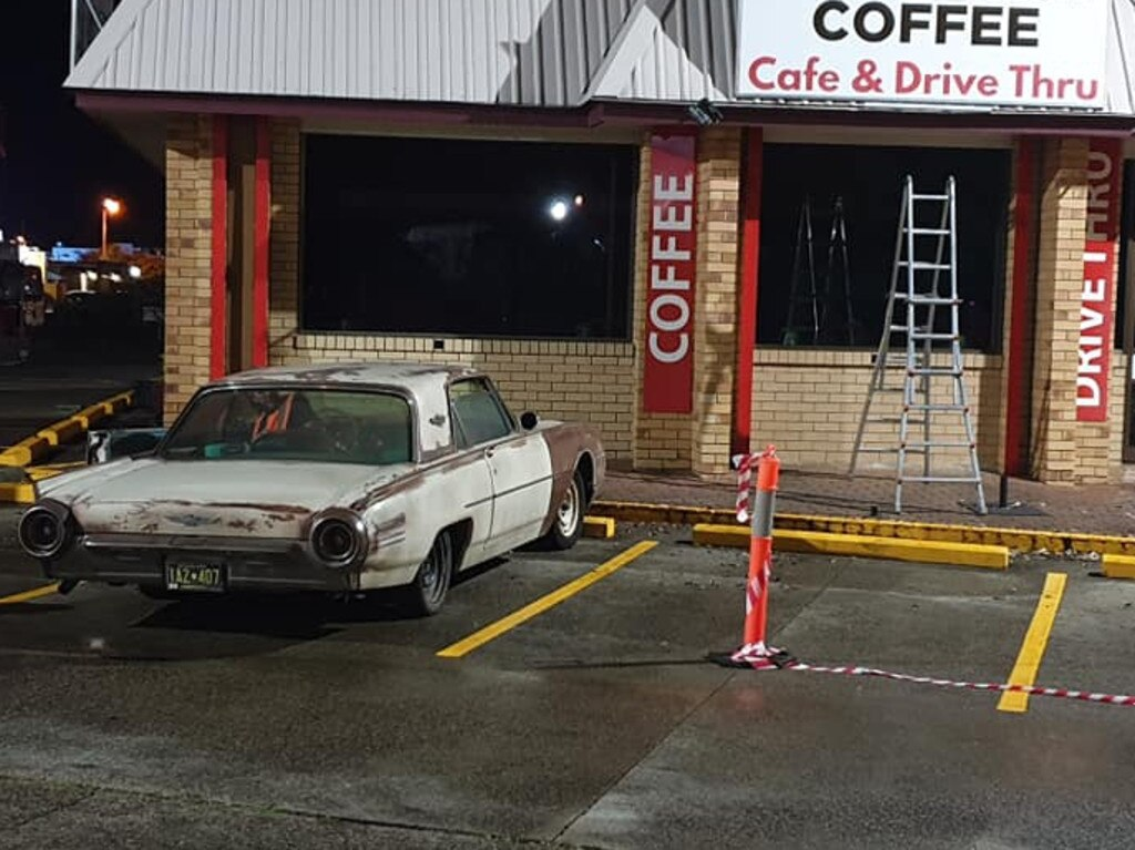 A Capalaba coffee shop is transformed for Young Rock filming.