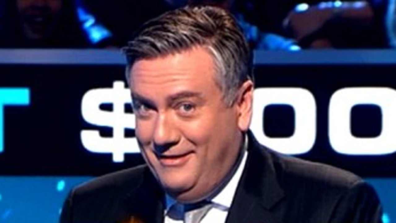 Eddie McGuire on the set of Millionaire Hot Seat. Picture: Channel 9