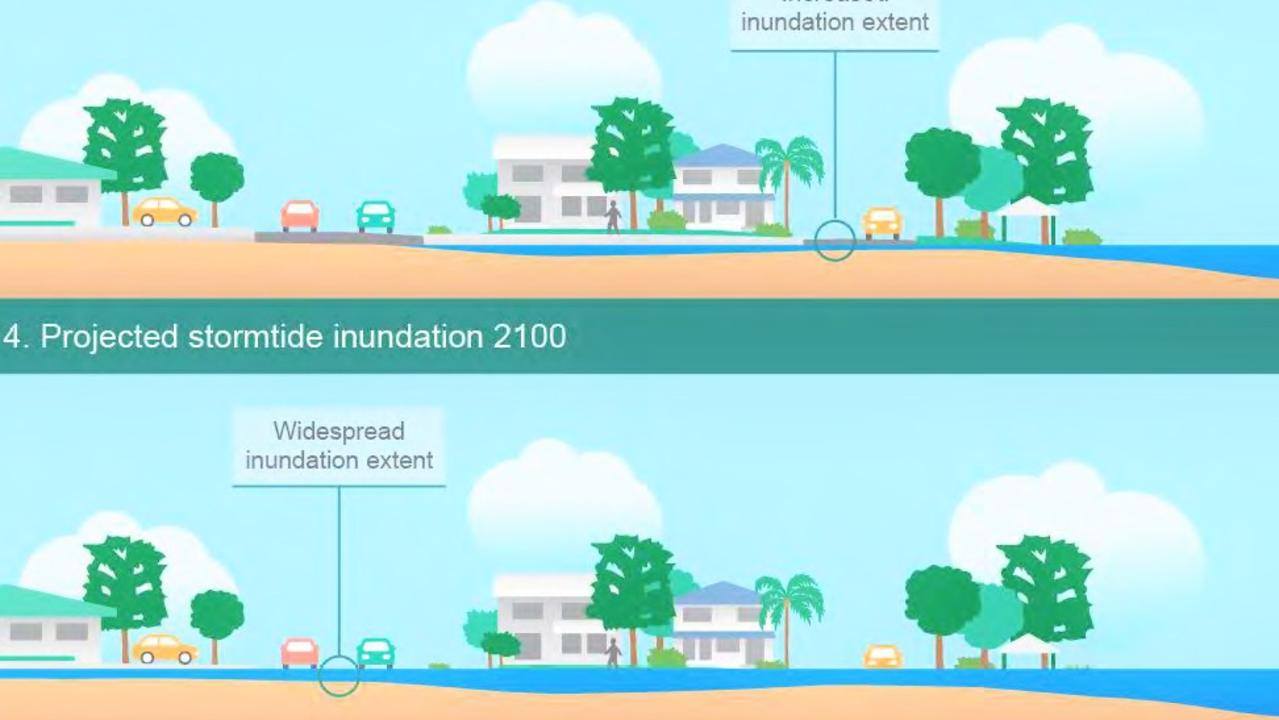 The predicted Noosaville inundation levels for 2070 (top) and 2100 above.
