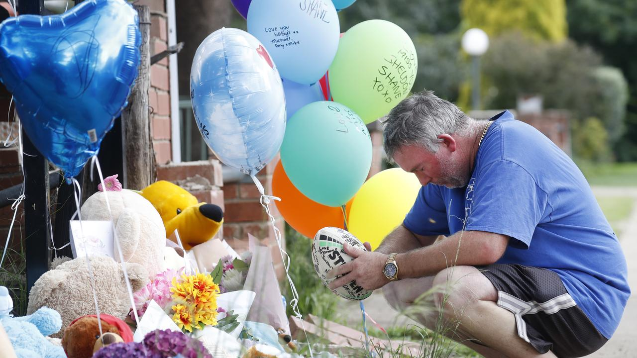 Joseph Shorey at a memorial set up in Wellington for his boys. Picture: Jonathan Ng