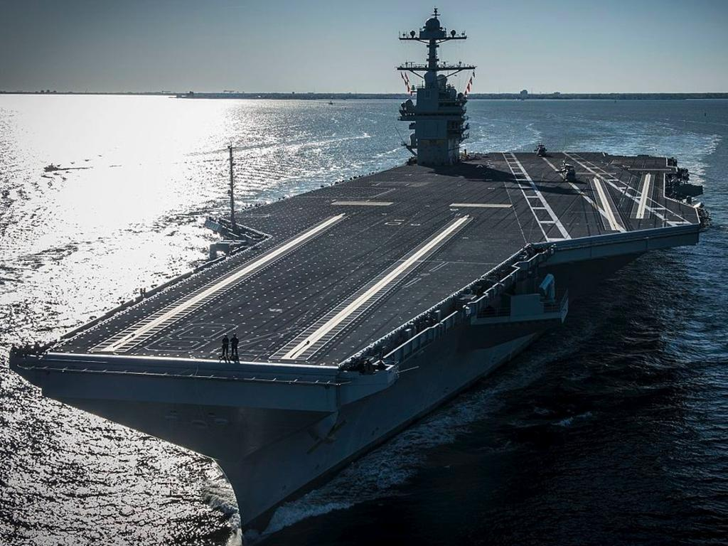 The US Navy aircraft carrier USS Gerald R. Ford (CVN-78) underway on its own power for the first time in 2017. Source: US NAVY