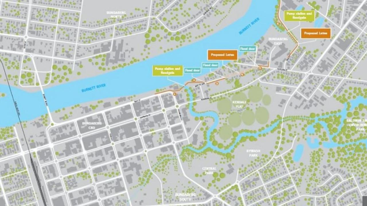The proposed Bundaberg East Levee will run parallel to the southern bank of the Burnett River, across Bundaberg Creek along Quay Street and behind the sugar mill. Source: Bundaberg 10-year Action Plan.