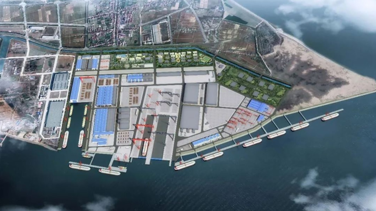 Jiangnan shipyard in Shandong is building a new 240ha aircraft carrier construction facility. Picture: Jiangnan Shipyards