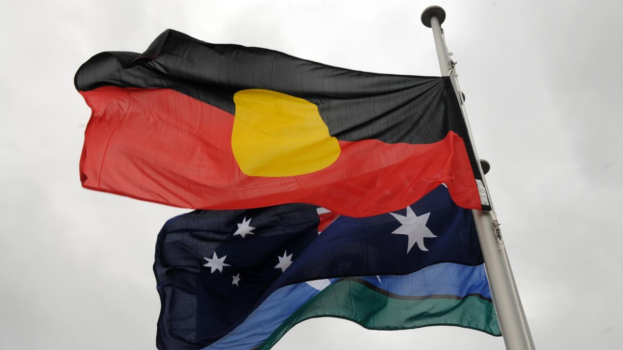 Three Australian flags the Torres Strait, Australia and Aboriginal flags