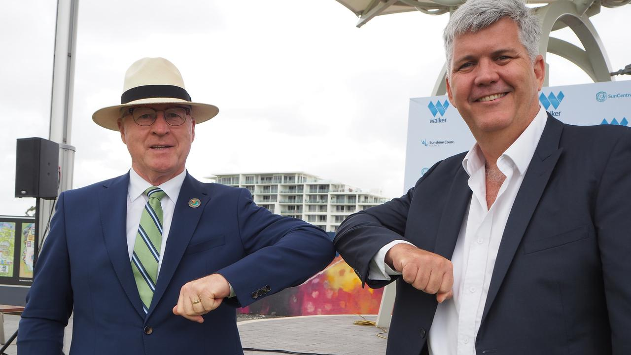 Mayor Mark Jamieson and Walker Corporation's commercial manager Malaysia and development projects George Quinn announce the development agreement for the Maroochydore City Centre. The city centre was one of several major projects identified in a review of the current planning scheme.