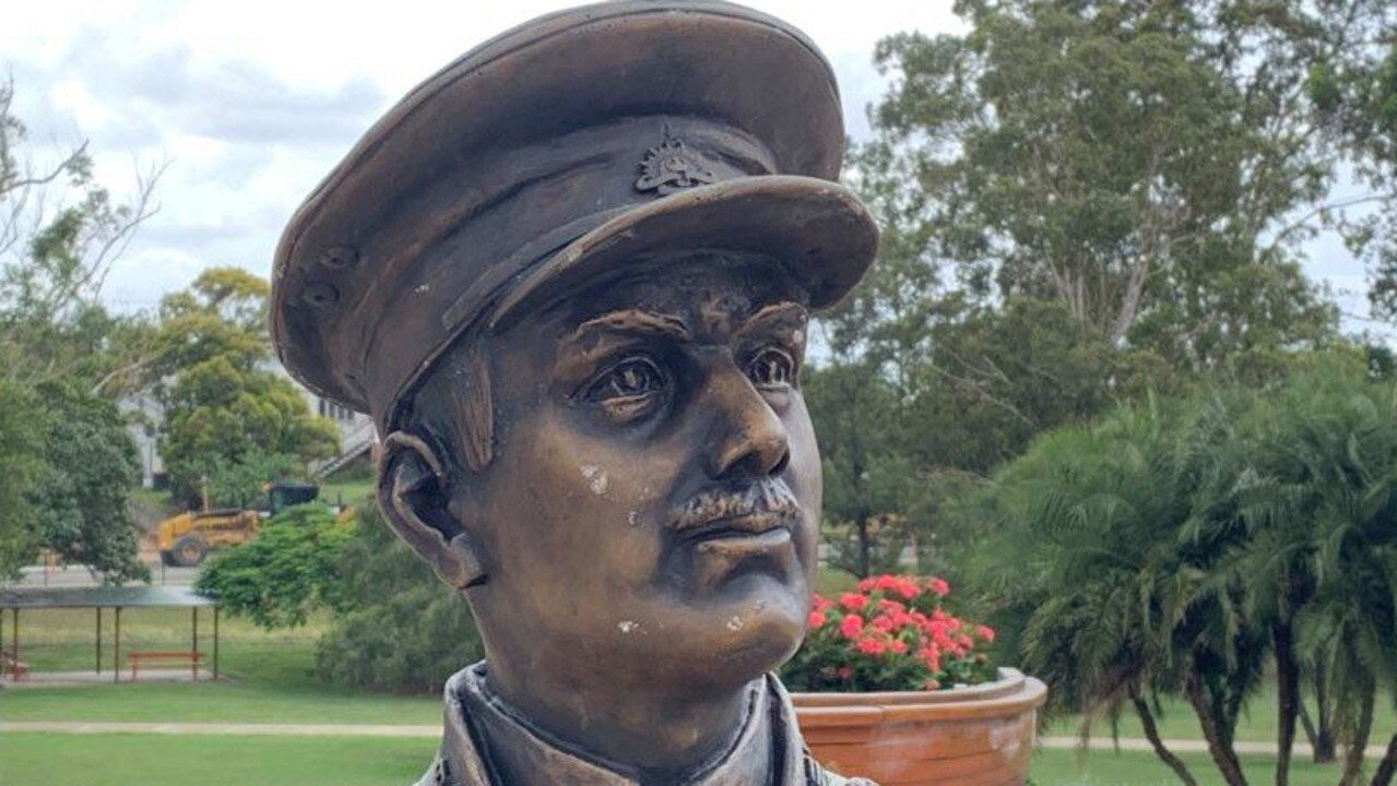 DAMAGED: Vandals left scratches and dents in the statue of Lieutenant Duncan Chapman. Photo: Stuart Fast