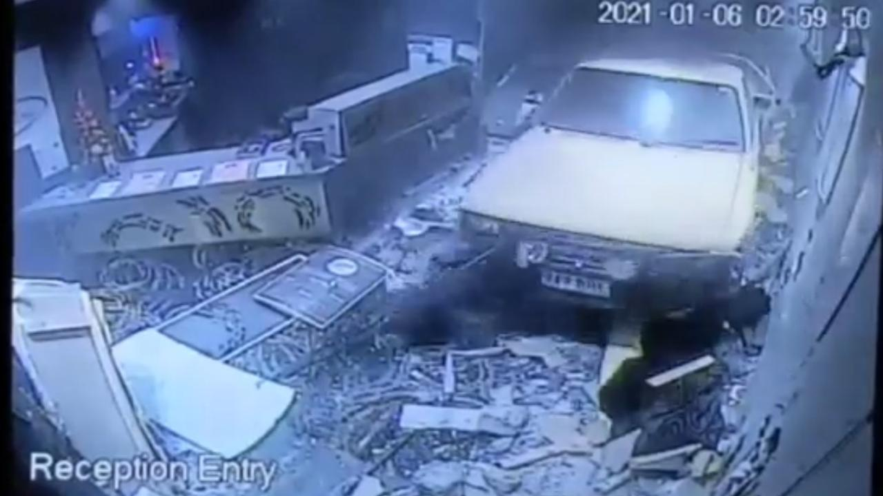 A driver of a stolen ute has caused extensive damage at Walkerston Leagues Club in the early hours of Wednesday January 6, 2020. Picture: Contributed