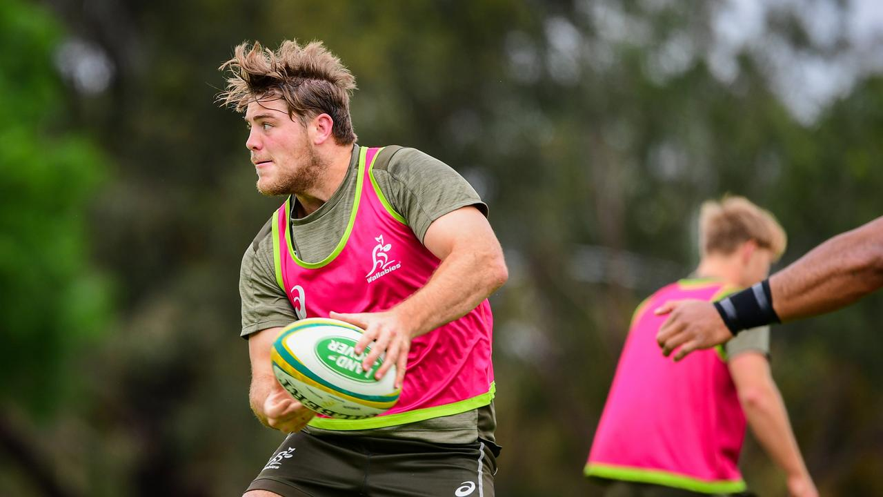 Fraser McReight of the Qantas Wallabies trains at Baddeley Park, Cessnock, NSW, Australia. Picture: Stuart Walmsley / Rugby Australia
