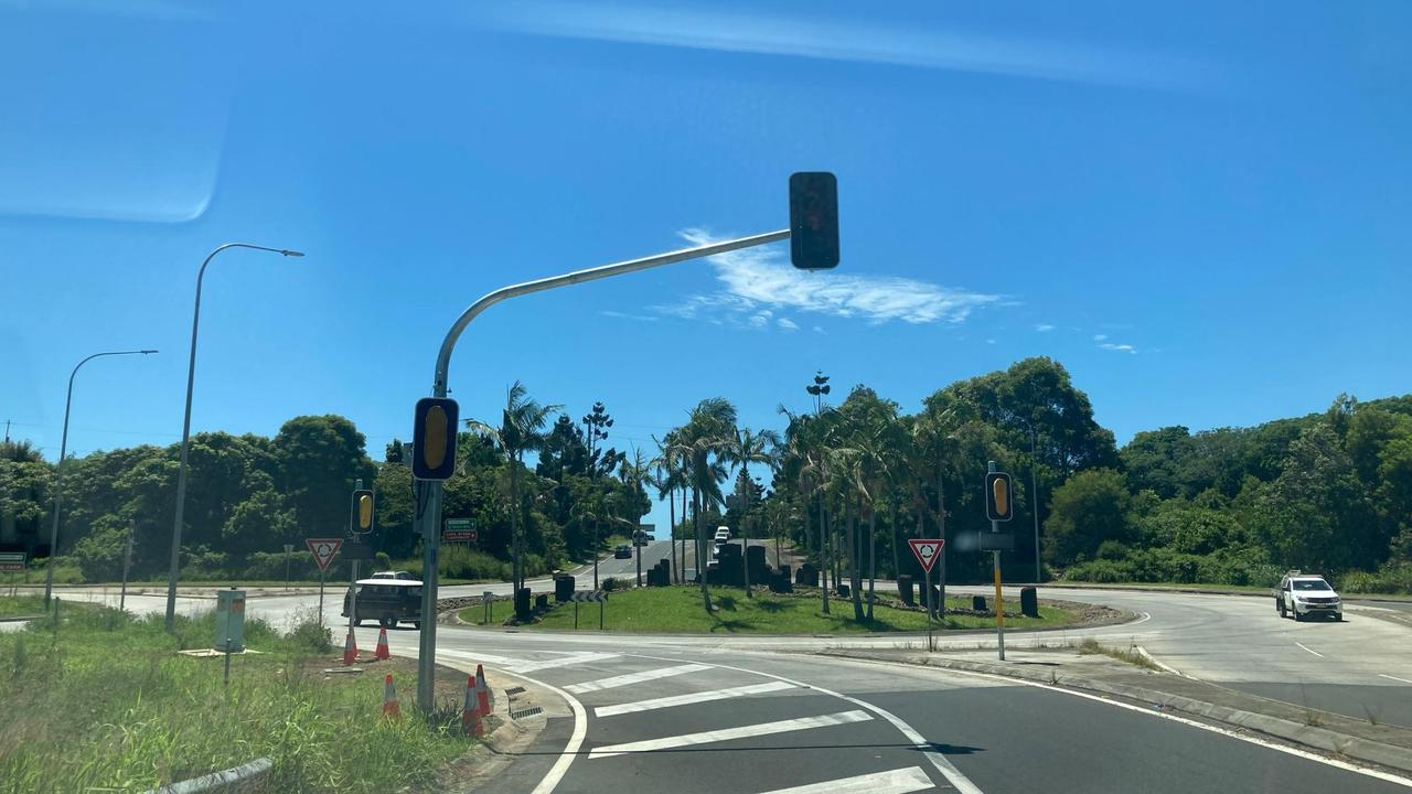 Byron Bay's first traffic signals have been switched on overnight.