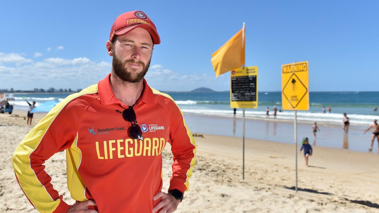 Coast lifeguard Nick Bolton on duty at Mooloolaba Beach. Picture: Patrick Woods