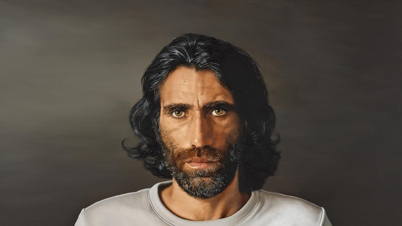 Archibald Prize 2020 finalist Behrouz Boochani by Lennox Head artist Angus McDonald; oil on canvas, 160 x 230 cm.