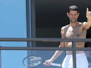Shirtless Djokovic emerges after backlash