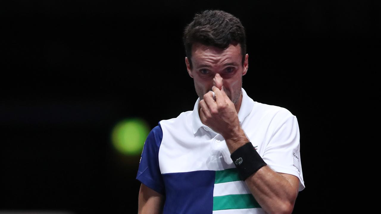 COLOGNE, GERMANY - OCTOBER 17: Roberto Bautista Agut of Spain reacts during the semi match between Felix Auger-Aliassime of Canada and Roberto Bautista Agut of Spain of day six of the Bett1Hulks Indoor tennis tournament at Lanxess Arena on October 17, 2020 in Cologne, Germany. (Photo by Christof Koepsel/Getty Images)