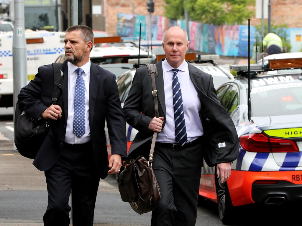 Channel 9 news chief Darren Wick pictured (right) arrives at Hornsby Local Court on Wednesday. Picture: NCA NewsWire / Damian Shaw