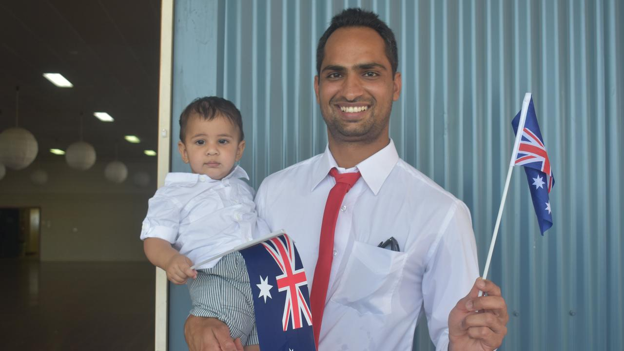 AUSTRALIA DAY: New citizen Harry Dhillon with his son Arjun at the Australia Day celebrations in Dalby in 2017. Picture: File