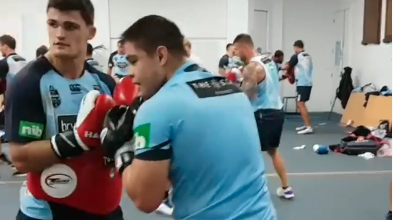 NSW Blues halfback Nathan Cleary in a training session with Australian boxer Bilal Akkawy in 2018. Source: Akkawy Boxing Club