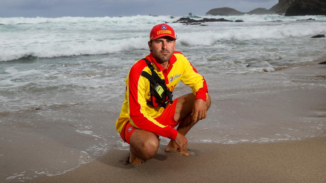 Chris Perrott jumped into the treacherous water at Bushrangers Bay near Cape Schanck in his boardies when three women and a 13-year-old girl were swept off rocks. Picture: Alex Coppel.