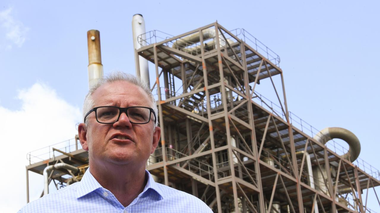 Prime Minister Scott Morrison at the Northern Oil Refinery in Gladstone during his tour or Queensland. Picture: AAP Image/Lukas Coch