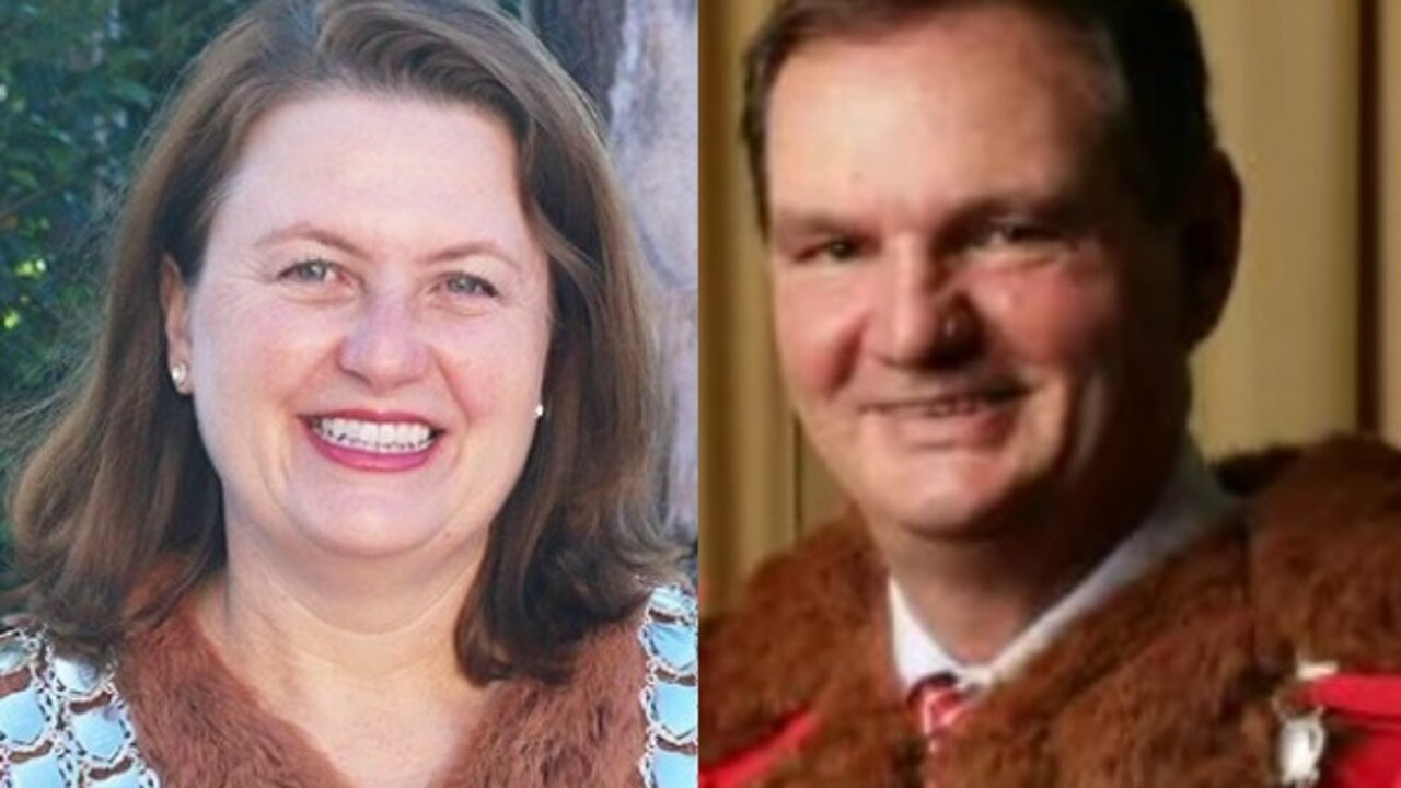 Ipswich mayor Teresa Harding and former disgraced mayor Paul Pisasale wearing the city's mayoral robes. Cr Harding no longer wears them to events.