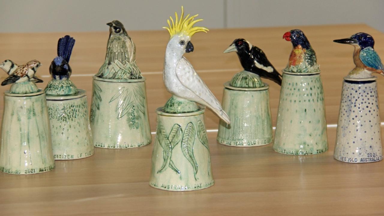 2021 Ipswich Australia Day Awards created by local ceramic artist Jane du Rand.