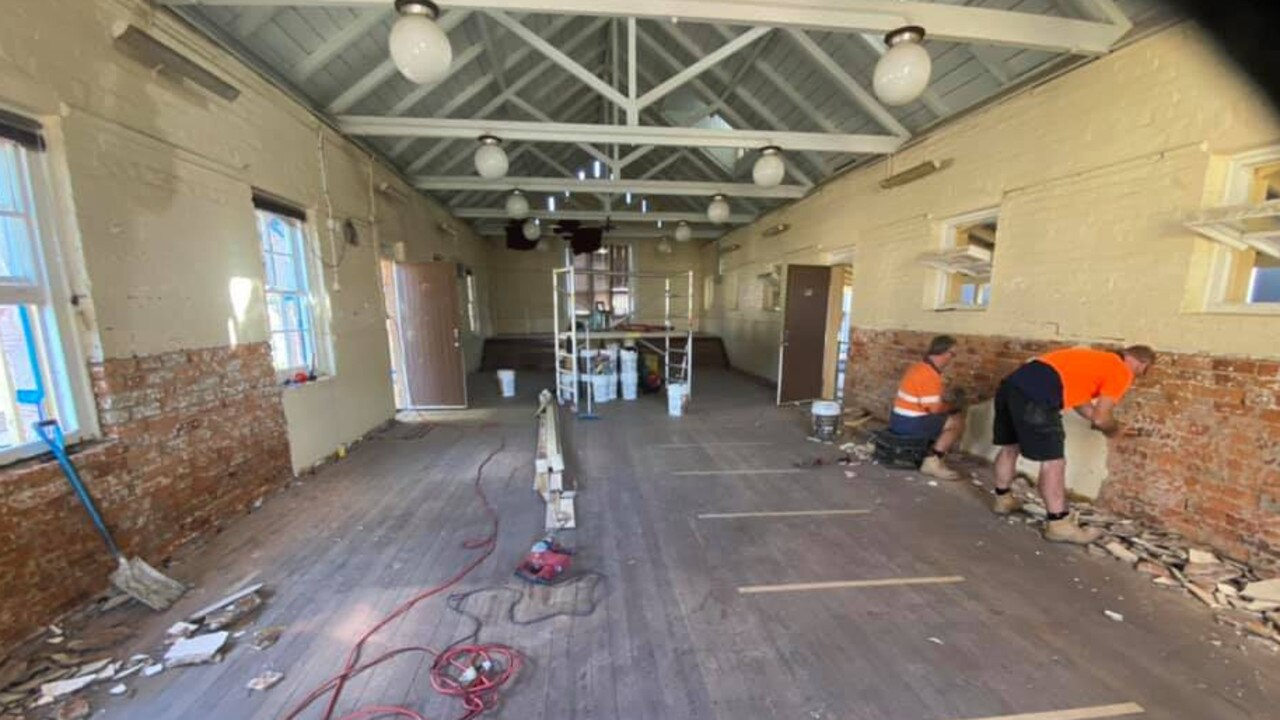 WORK BEGINS: Inside the restoration of the National School Building at Warwick East.