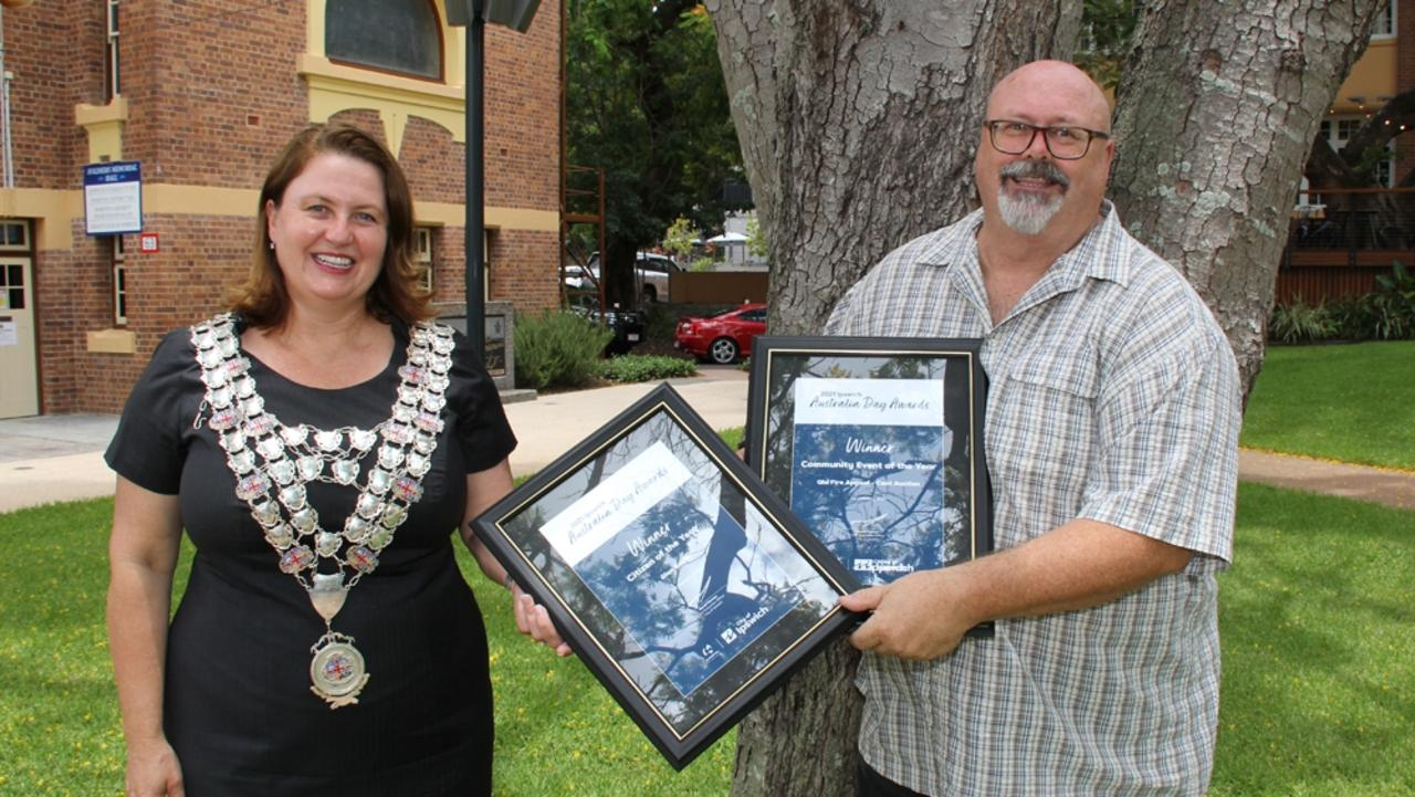 Ipswich mayor Teresa Harding wearing the mayoral chains with 2021 Ipswich Citizen of the Year Glen Smith on January 20.