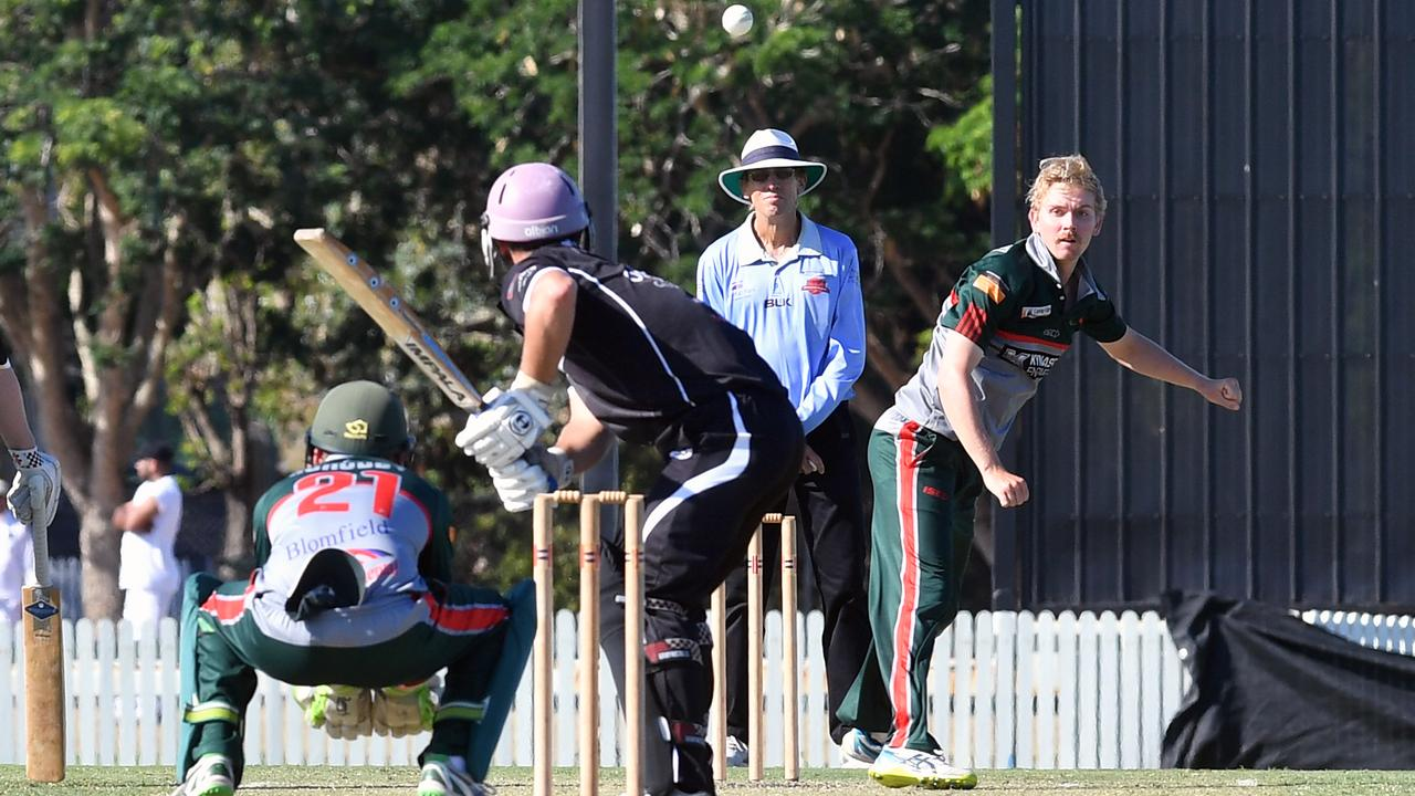 Walkerston's Joel Bock bowling to Magpies' Brant Attard.