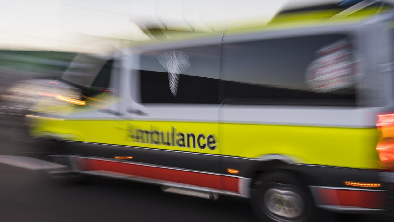 A man has been rushed to hospital after falling at least four metres on a construction site.