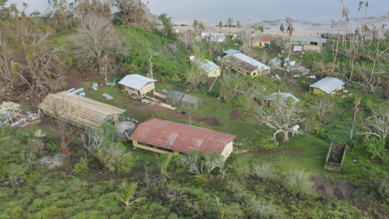 Aerial shots of the Galoa Island primary school reconstruction after Tropical Cyclone Yasa during Operation Fiji Assist. PICTURE: ADF/SUPPLIED.