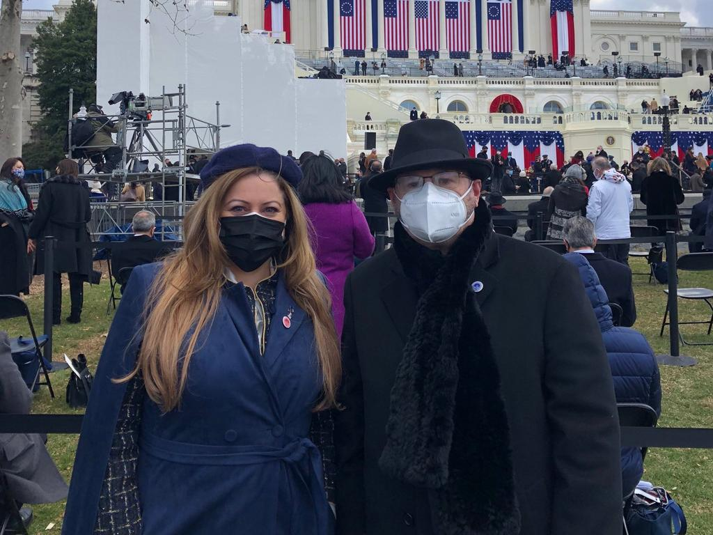 Ambassador of Australia to the US Arthur Sinodinos and his wife Elizabeth at the 59th presidential inauguration in Washington DC. Picture: Twitter