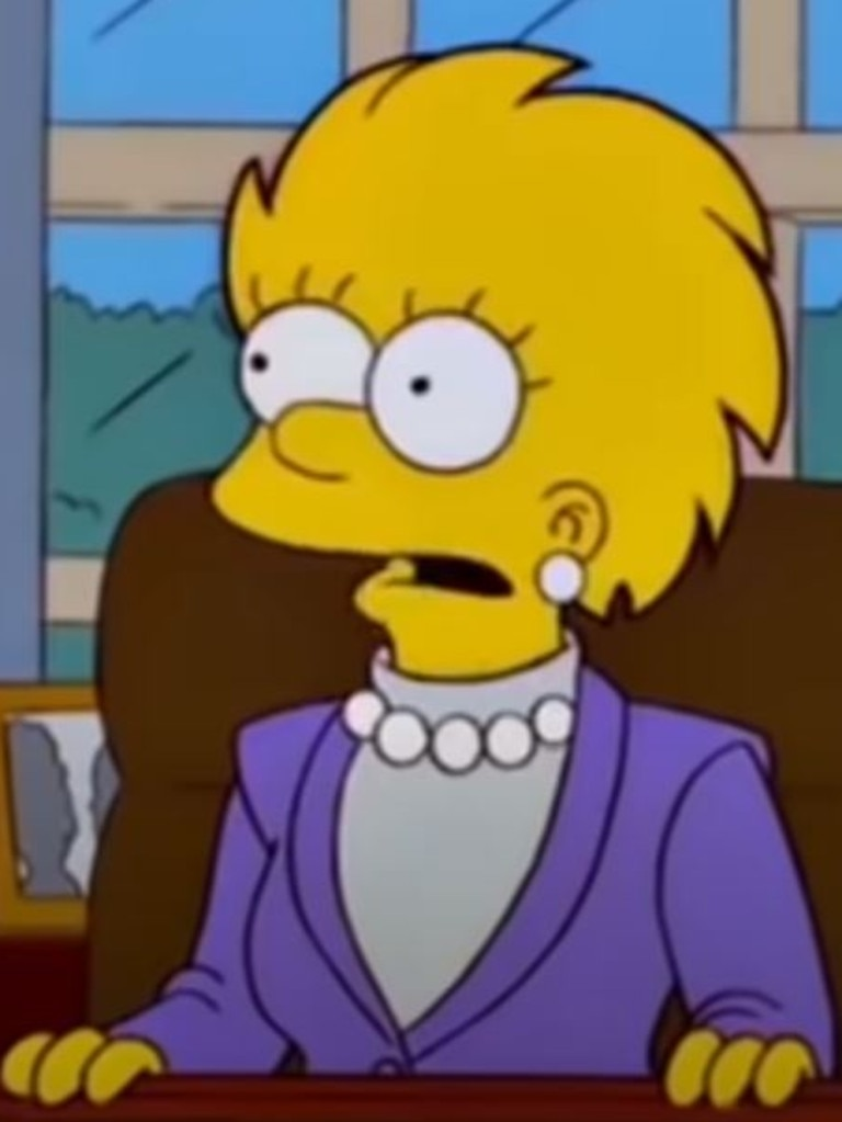 In the episode, which aired in 2000, Lisa is the first female president of the US. Picture: The Simpsons