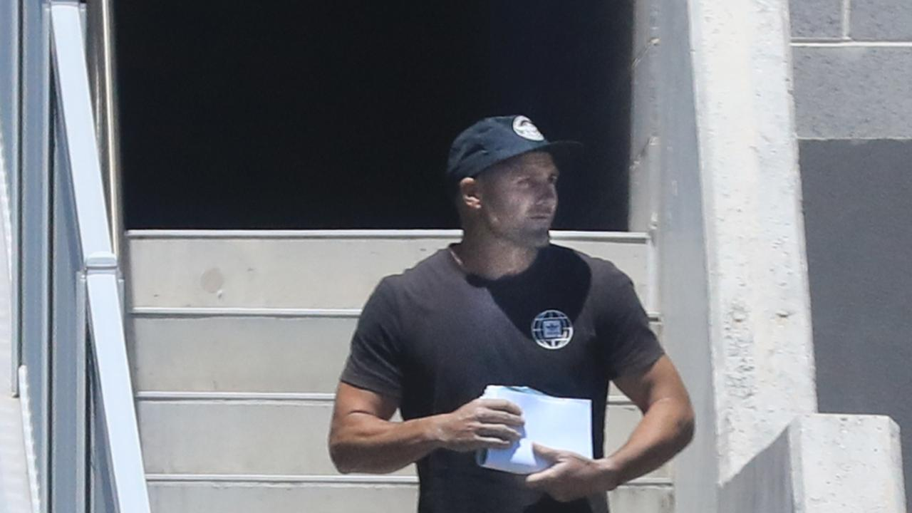 Former Gold Coast Titan and NRL player Michael Gordon is released from Police Custody at Tweed Heads Police Station after being arrested earlier in November. Photo: Scott Powick Newscorp