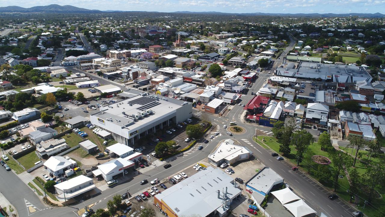 Aerial footage of the Gympie CBD.
