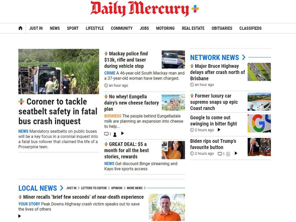 Mackay Daily Mercury website home page.