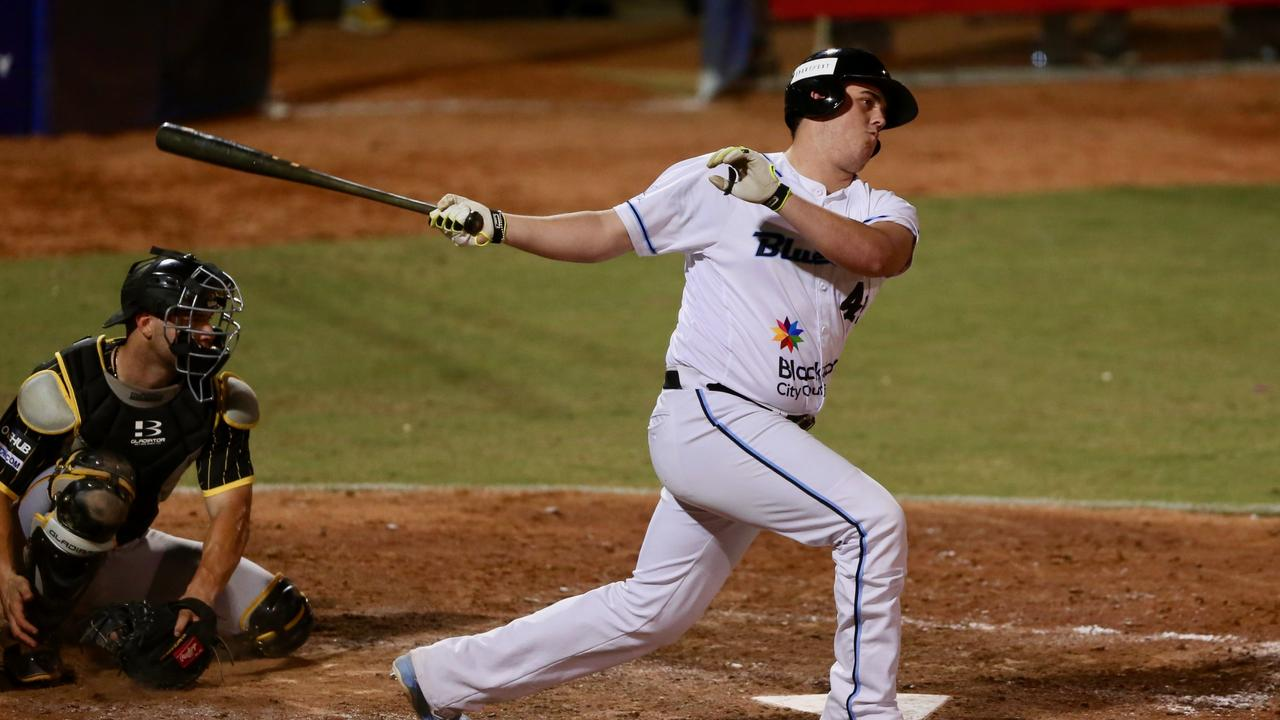 RIXON WINGROVE (SYDNEY BLUE SOX) – ABL RD 7 – SYDNEY BLUE SOX V BRISBANE BANDITS – GAME 1. Action from the Australian Baseball League 2018 / 2019 Round 7, Game 1 clash between the Sydney Blue Sox v Brisbane Bandits at Blue Sox Stadium, Blacktown International Sportspark, 27 December 2018. This image is for editorial use only. Any further use or individual sale of this image must be cleared by app